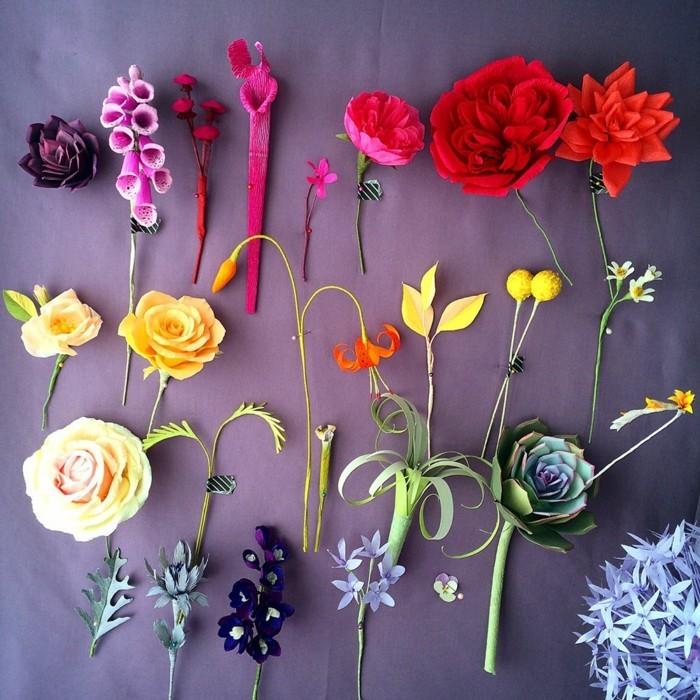 papierblumen basteln papierkunst diy dekoideen