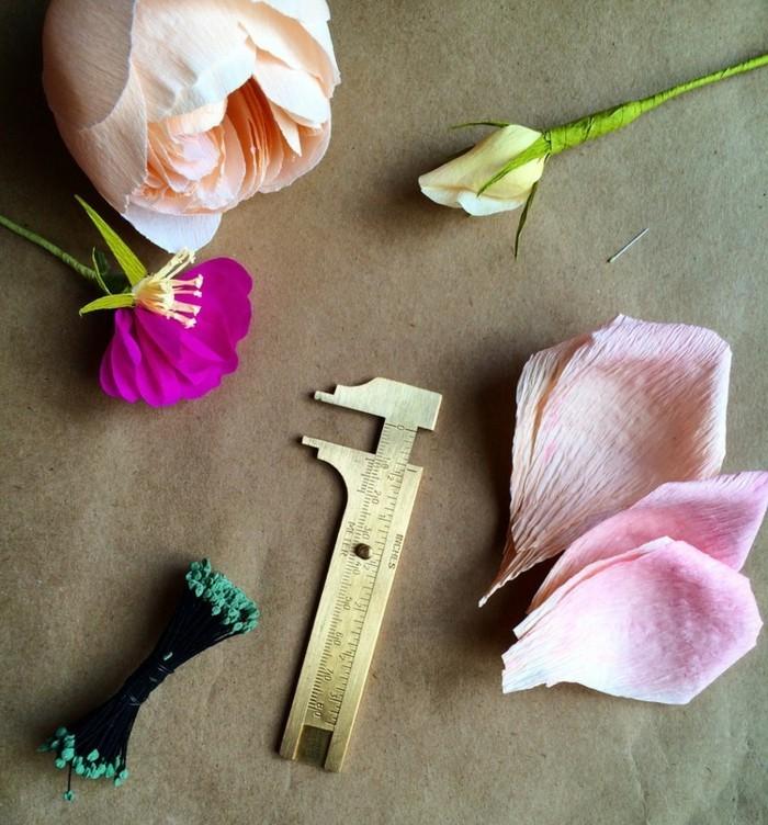 papierblumen basteln papierkunst pfingstrosen