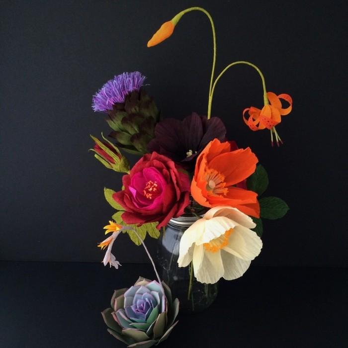 papierblumen basteln sommerblumen sukkulenten blumenstrauß