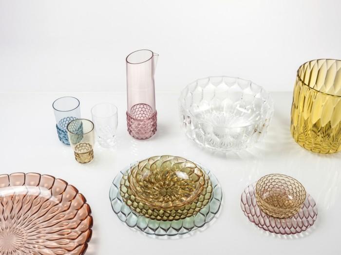 partygeschirr bunter kunststoff pmma teller vasen kannen gläser