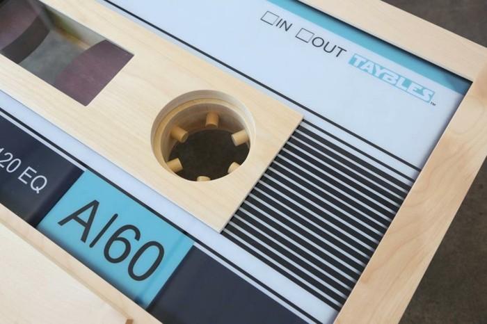retro couchtisch holz kassette design tonband wohnzimmer ideen
