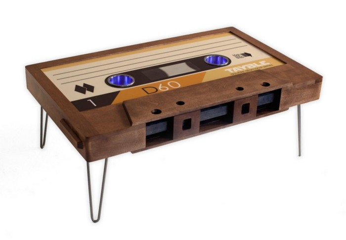 19 Vintage Wohnzimmertischretro Couchtisch Holz Kassette Wohnzimmertisch
