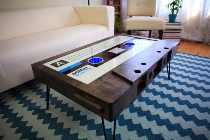 retro couchtisch holz tonband design wohnzimmereinrichtung