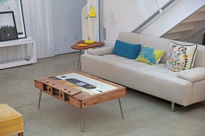 retro couchtisch kassette wohnzimmer ideen sofa beistelltisch