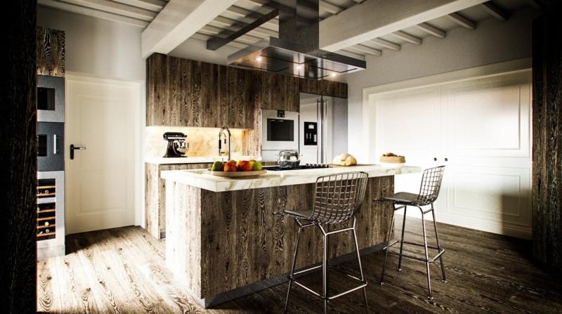 rustikales Küchendesign Kücheneinrichtung Ideen für Männer