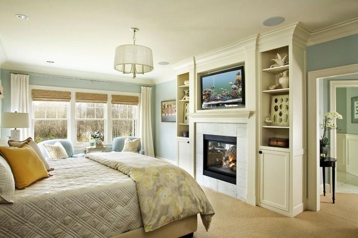 schlafzimmer deko ideen accessoires dekokissen raffrollos