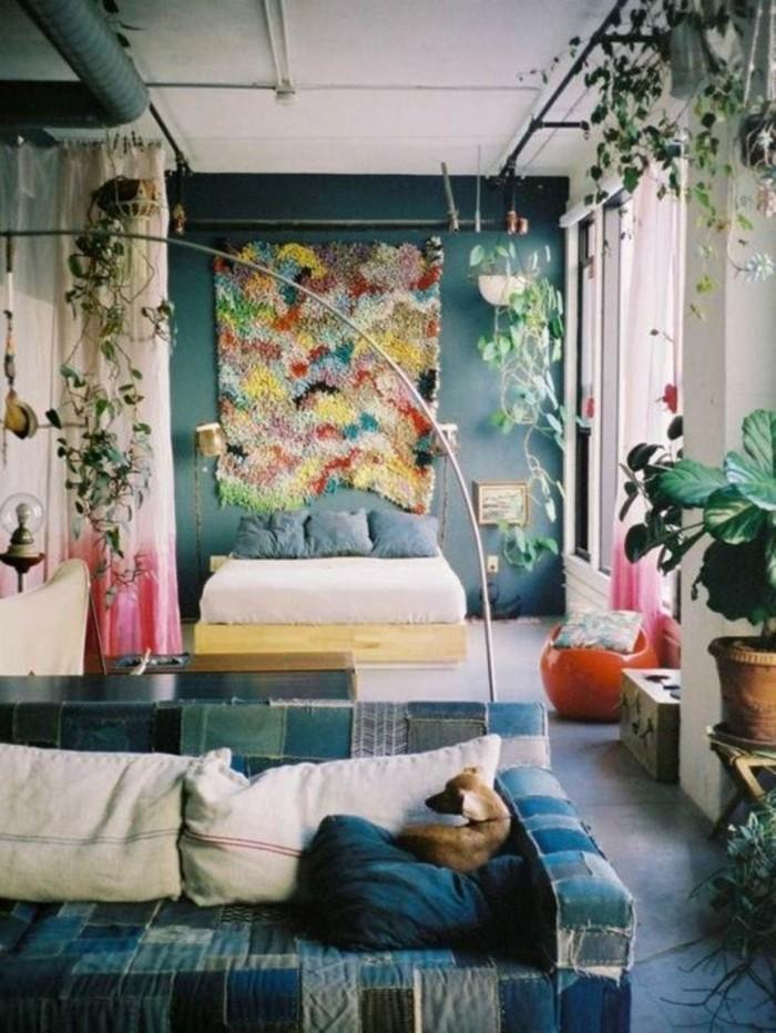 schlafzimmer deko ideen farbige wanddeko pflanzen