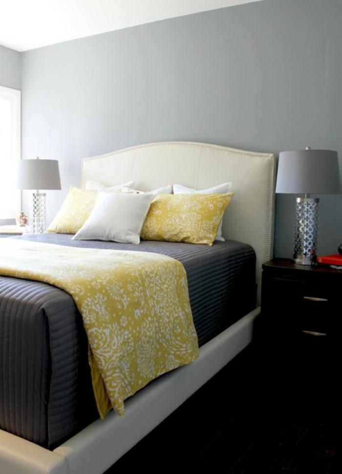 schlafzimmer deko ideen gelbe akzente dekokissen dunkler boden