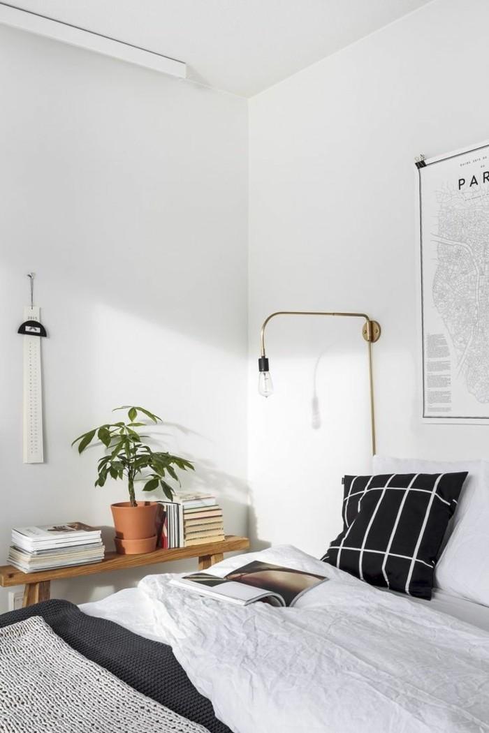 schlafzimmer deko ideen pflanzen coole wandlampe weiße wände