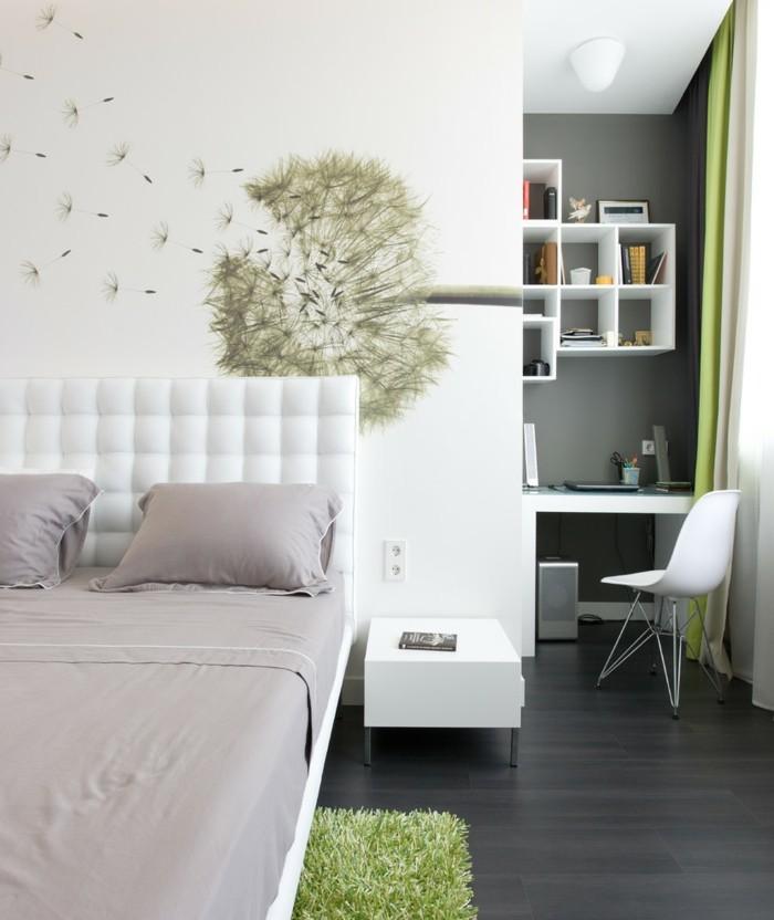 schlafzimmer deko ideen wanddeko weiße wände grüner teppich