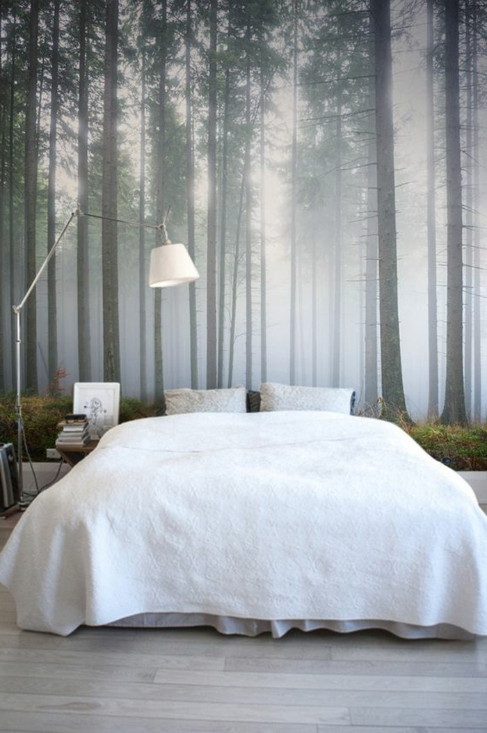 schlafzimmer lampe bodenlampe holzboden schöne wandtapete