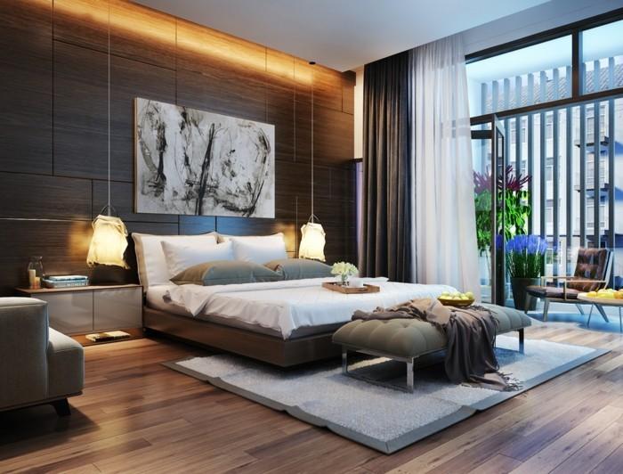 schlafzimmer lampe hängelampen grauer teppich holzoptik bodenbelag