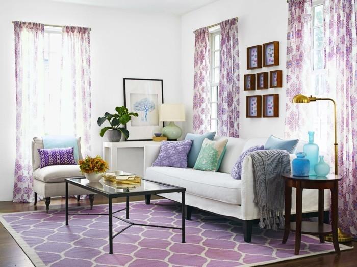 teppich kaufen lila schönes muster pflanzen wohnzimmer