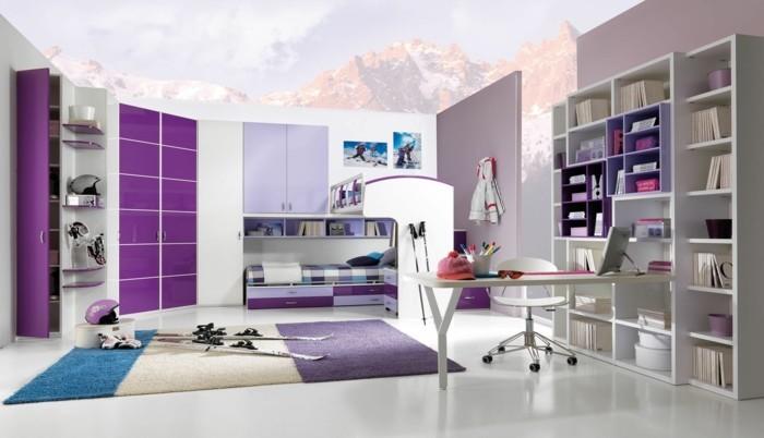 teppich kaufen lila weiß blau jugendzimmer gestalten