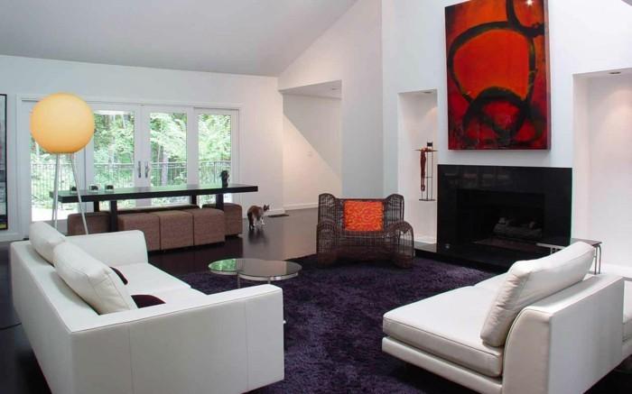 teppich kaufen lila weiße möbel wohnzimmer gestalten