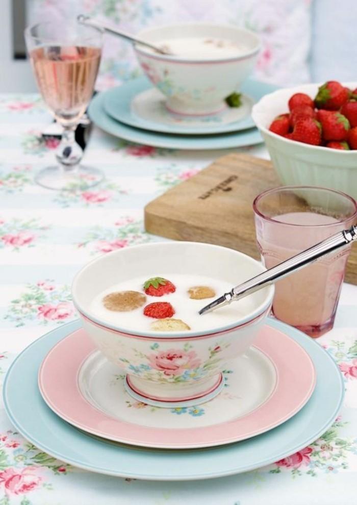 tischdeko sommer kollektion greengate frühstück porzellan schale teller gläser