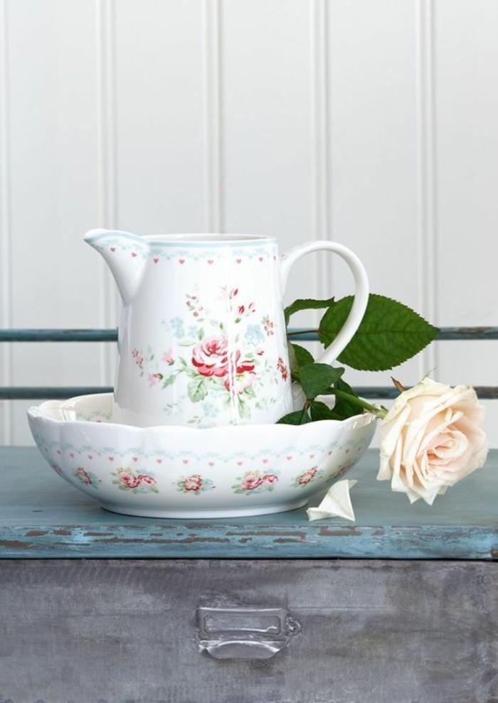 tischdeko sommer kollektion greengate porzellan schale kanne weiße rose