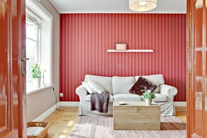 Vintage Teppich Wohnzimmer Gestalten Streifen Akzentwand