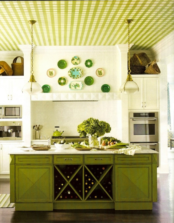 wände dekorieren dekoideen küche akzente setzen grüne kücheninsel