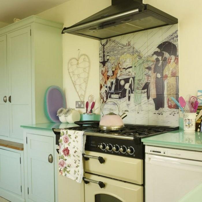 wände dekorieren dekoideen küche pastellnuancen