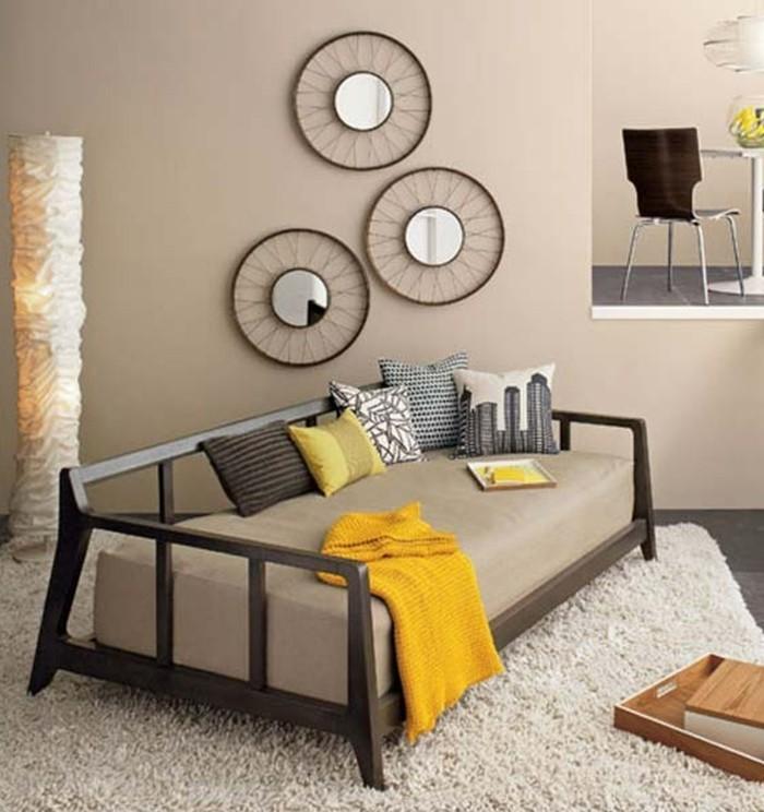 wände dekorieren dekoideen wohnzimmer beiger teppich