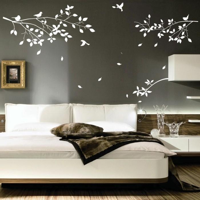 wände dekorieren dekoideen wohnzimmer wandsticker zweige vögel