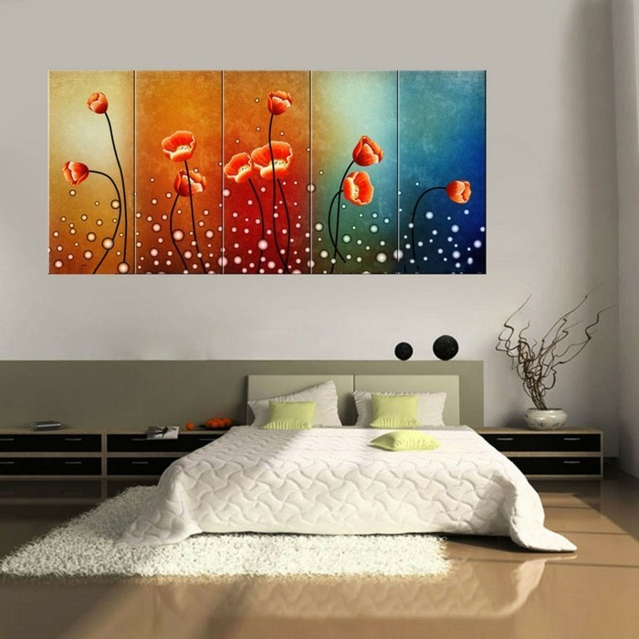 wände dekorieren leinwand dekoideen schlafzimmer