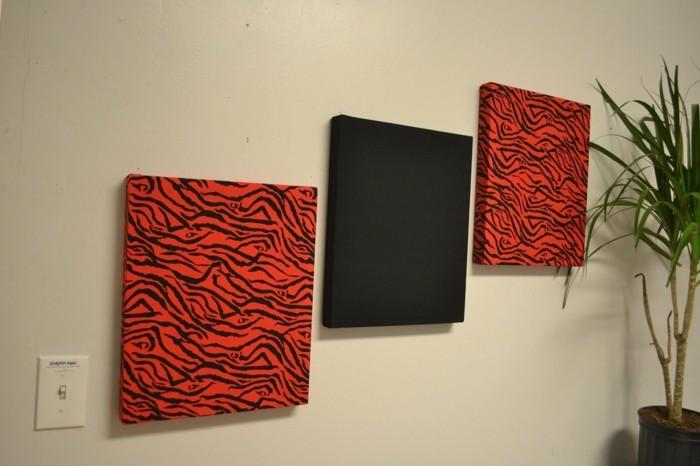 w nde dekorieren 43 wanddeko ideen mit leinw nden tellern und fotos. Black Bedroom Furniture Sets. Home Design Ideas