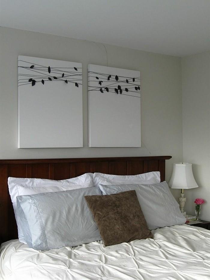 Wände dekorieren - 43 Wanddeko Ideen mit Leinwänden, Tellern und Fotos