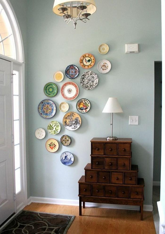 wände dekorieren platten helle wand flur gestalten ideen