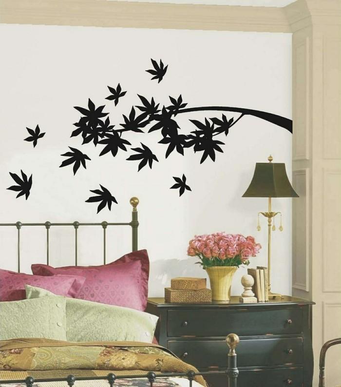 wände dekorieren schlafzimmer dekoideen wandtattoo blätter