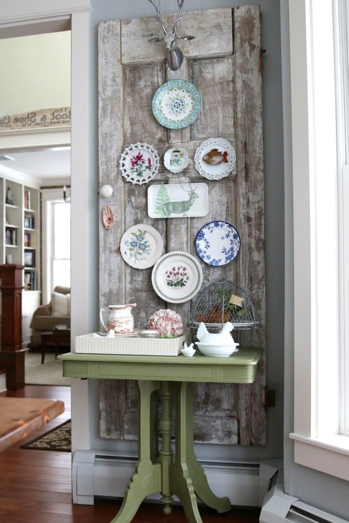 wände dekorieren vintage wanddeko teller