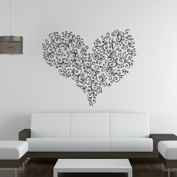 wände dekorieren wanddeko herz wohnzimmer