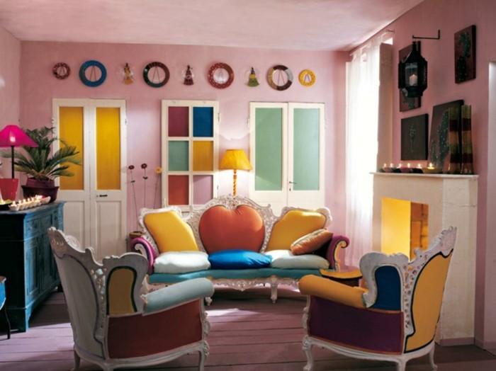 wände dekorieren wohnideen wohnzimmer farbige möbel