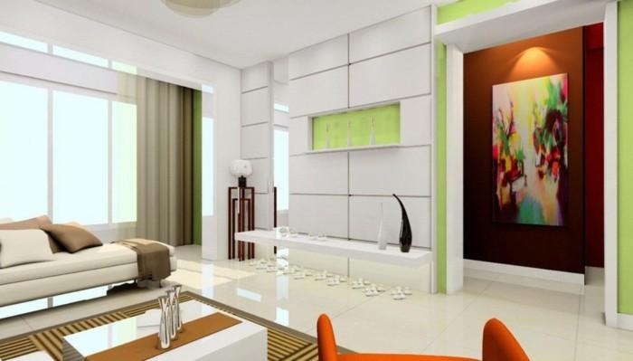 wandbilder wohnzimmer farbig dekoideen wand weiße bodenfliesen