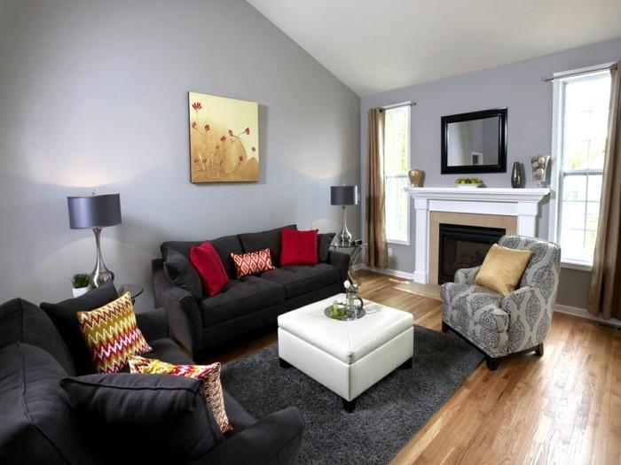 wandbilder wohnzimmer graue möbel rote dekokissen grauer teppich weißer couchtisch