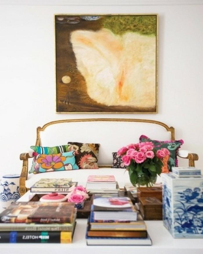 wandbilder wohnzimmer wanddeko farbige stoffmuster blumen