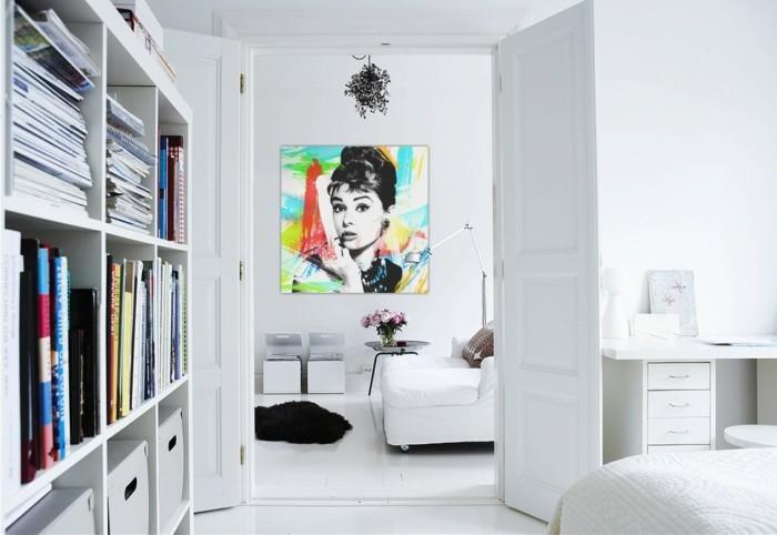 wandbilder wohnzimmer weißes innendesign schwarzer teppich