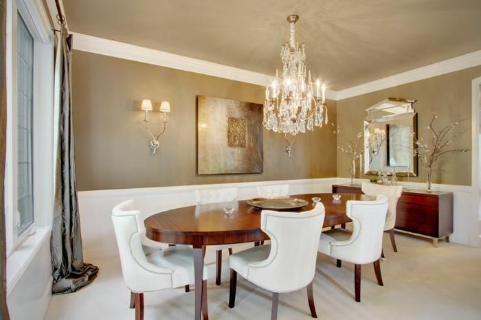 wanddeko ideen esszimmer dekoideen ovaler esstisch luxuriöse gardinen
