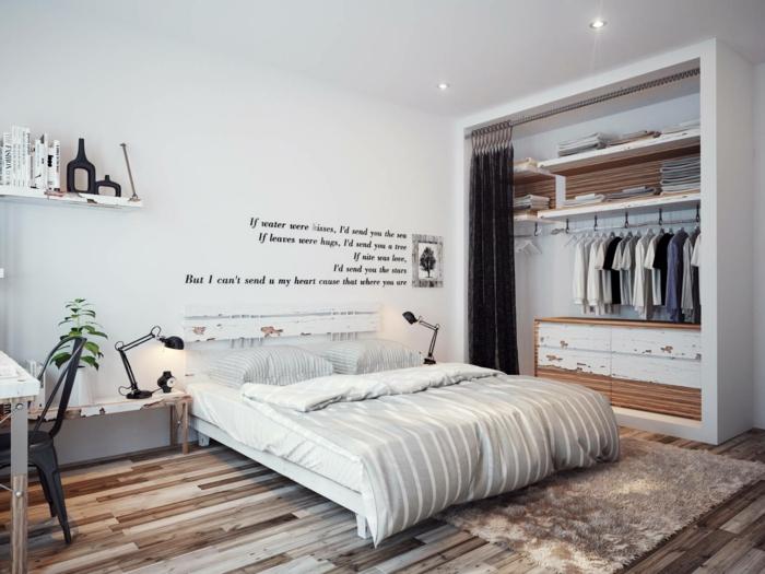 wanddeko ideen schlafzimmer botschaft hinterlassen beiger teppich - Wanddeko Ideen