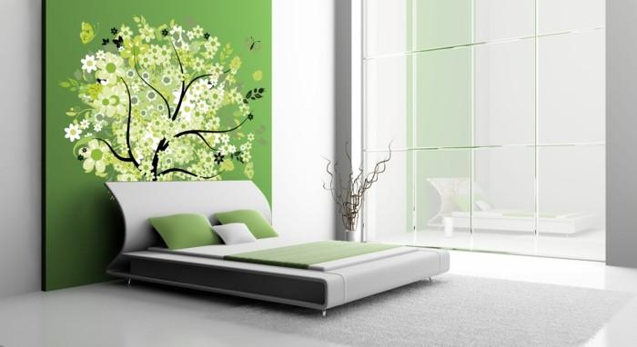 wanddeko ideen schlafzimmer grüne akzentwand baum