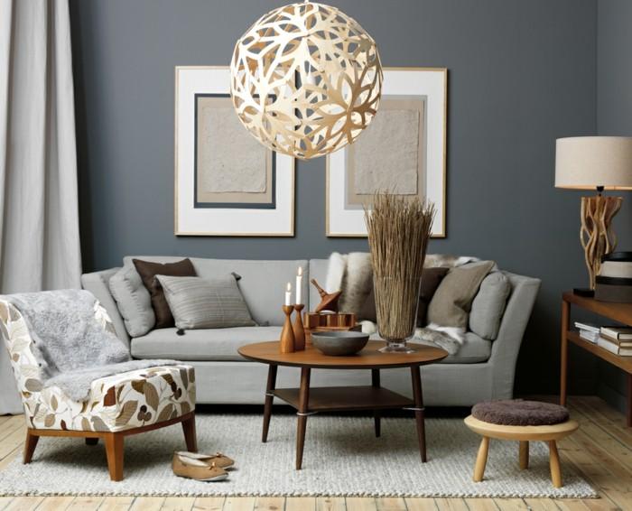 wohnzimmer wanddeko ideen:Wände dekorieren – 43 Wanddeko Ideen mit Leinwänden, Tellern und