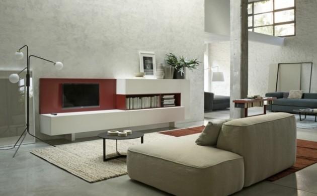 wanddesign-betonwände-wohnzimmer-einrichten-ideen