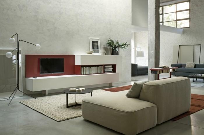 wanddesign betonwände wohnzimmer einrichten ideen