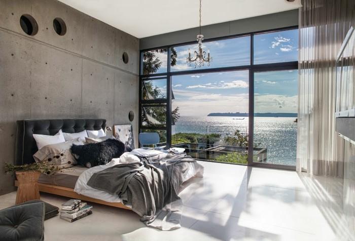 wanddesign schlafzimmer einrichten betonwände panoramafenster