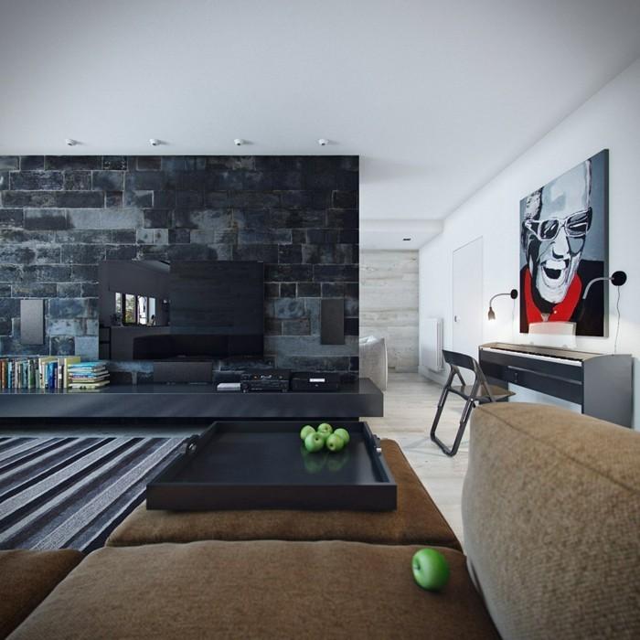 wanddesign wohnideen wohnzimmer betonwände streifenteppich
