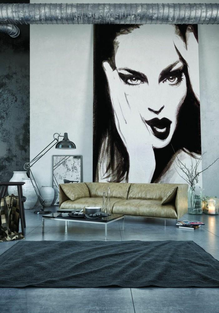 wanddesign wohnzimmer betonoptik schöne wanddeko grauer teppich
