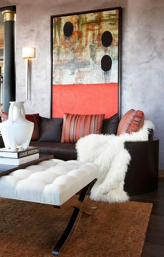 wanddesign wohnzimmer einrichten weiße akzente brauner teppich