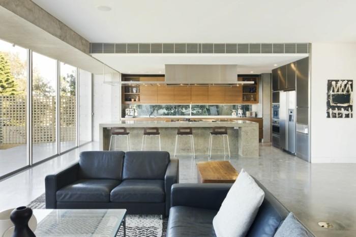 wanddesign wohnzimmer offener wohnplan beton akzente