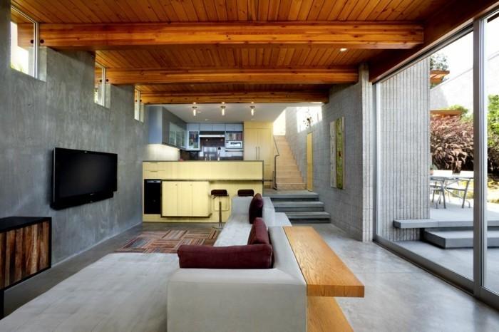 wanddesign wohnzimmer schickes ecksofa farbiger teppich